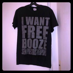 black Semi Precious Concert T-shirt - free booze